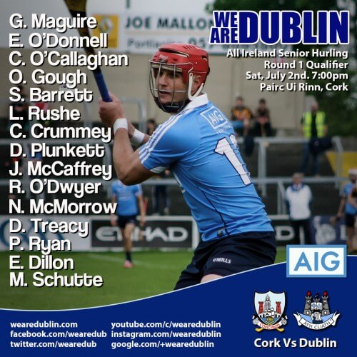 MAGUIRE MAKES RETURN TO DUBLIN'S HURLING STARTING 15 FOR ALL IRELAND QUALIFIER