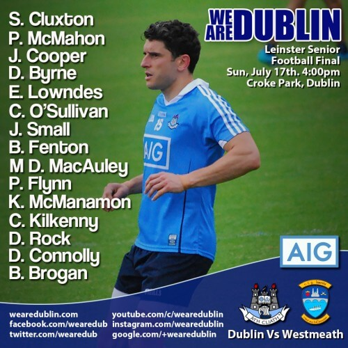 DUBLIN SENIOR FOOTBALL STARTING 15 FOR LEINSTER FINAL
