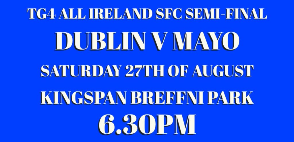 REMINDER OF DUBLIN STARTING 15 FOR TODAY'S ALL IRELAND SFC SEMI-FINAL