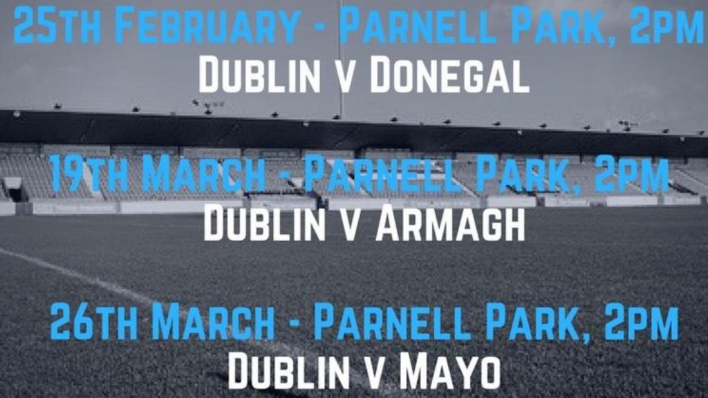 DUBLIN LADIES TO PLAY REMAINING HOME NFL GAMES IN PARNELL PARK