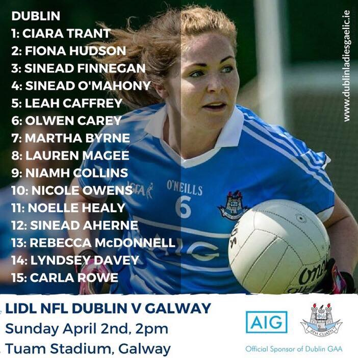 Dublin Senior Ladies Football Team To Play Galway Is Named We Are Dublin Gaa