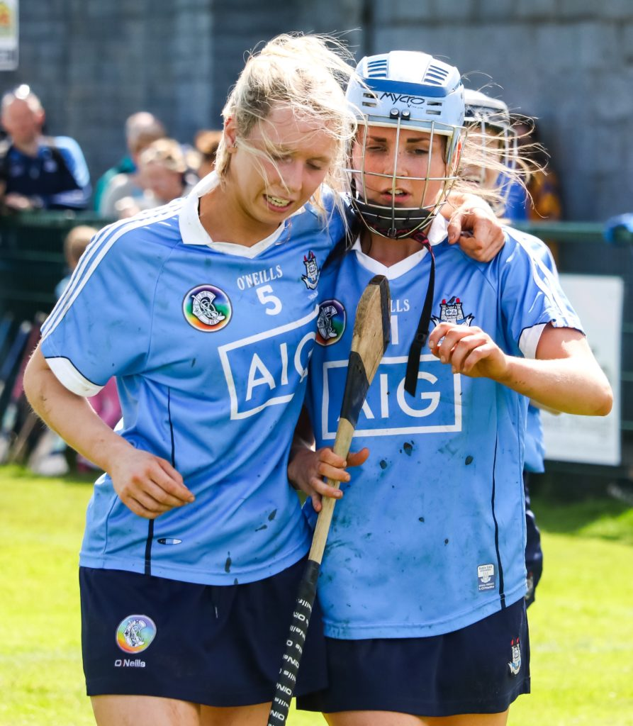 Dublin's Eva Marie Elliot and Hannah Hegarty embrace and chat after Dublin's victory