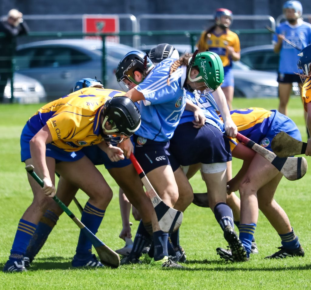 Dublin And Clare Players Battle For The Ball