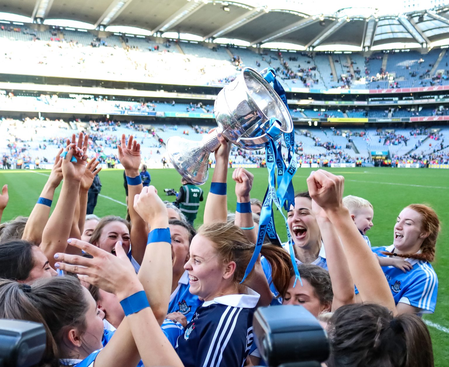 Dublin Senior Ladies Footballers Celebrating With The Brendan Martin Cup After Their All Ireland Final Win In Croke Park