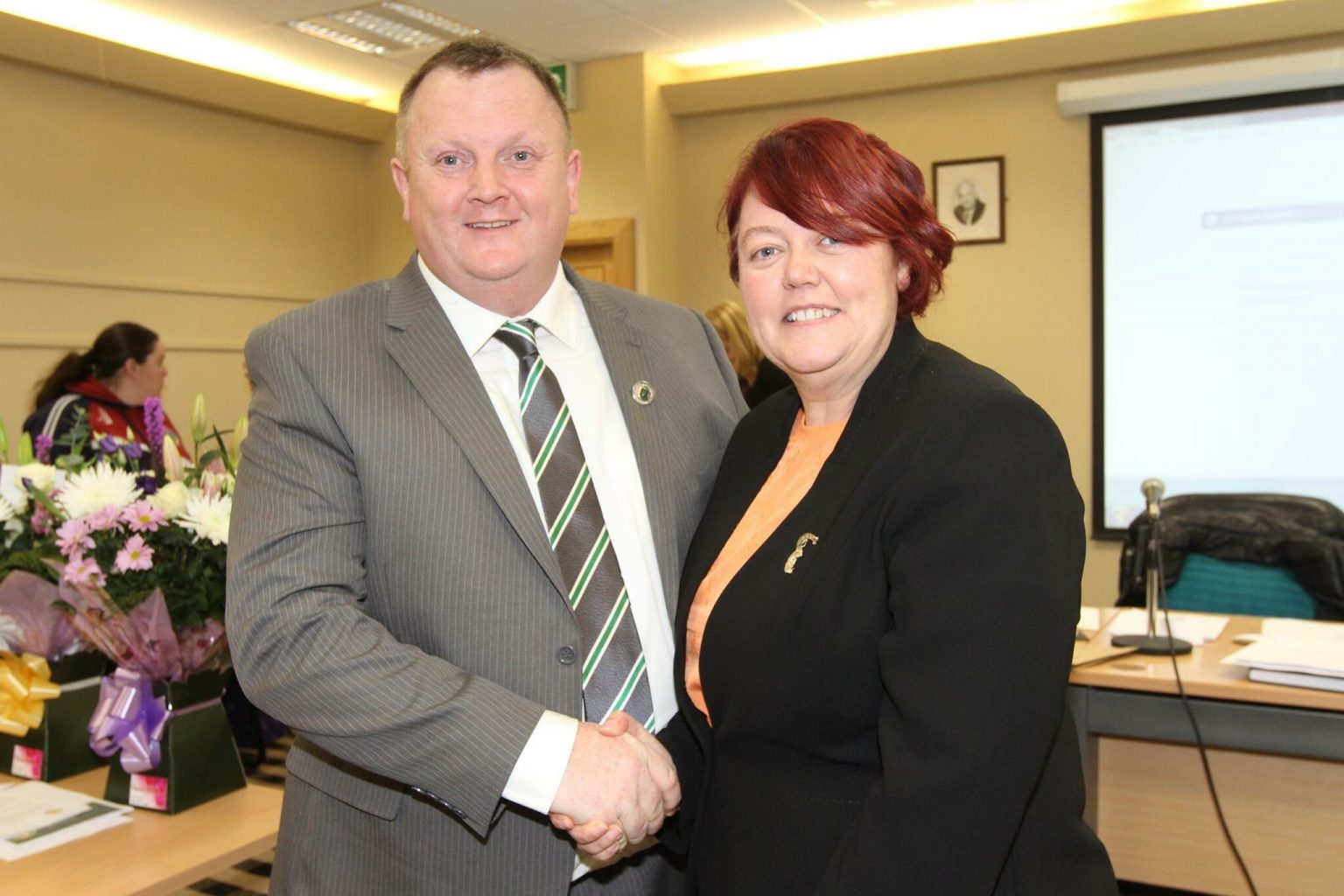 Dublin County Board Chairman Pat Martin With Catherine Neary President Of The Camogie Association