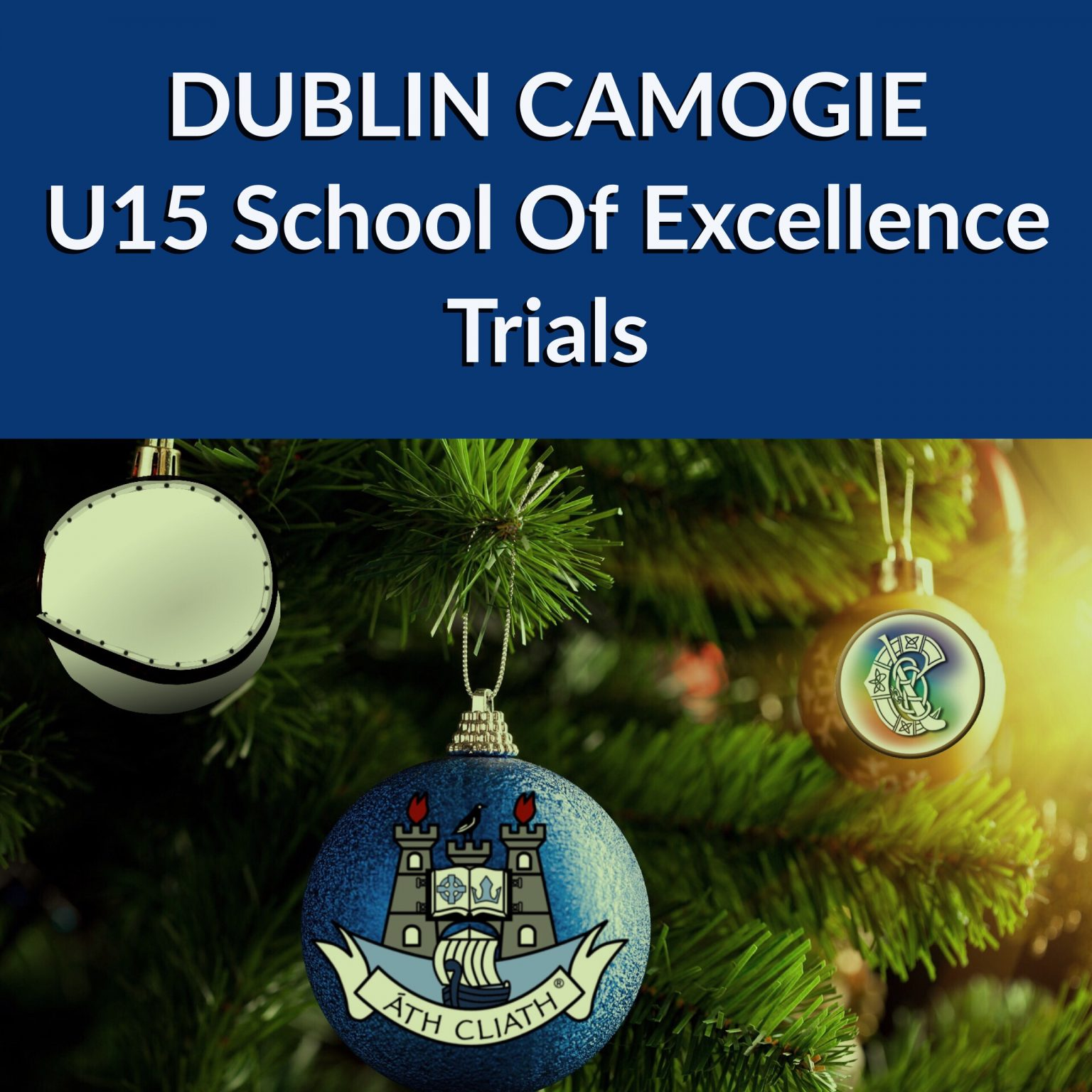 Image of Christmas tree with a Dublin GAA and Camogie baubles