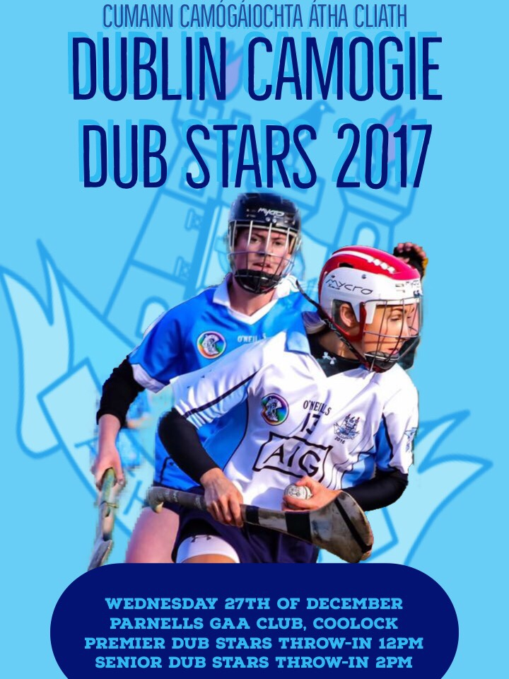 Two players in action in the 2016 Dublin Camogie Dub Stars game