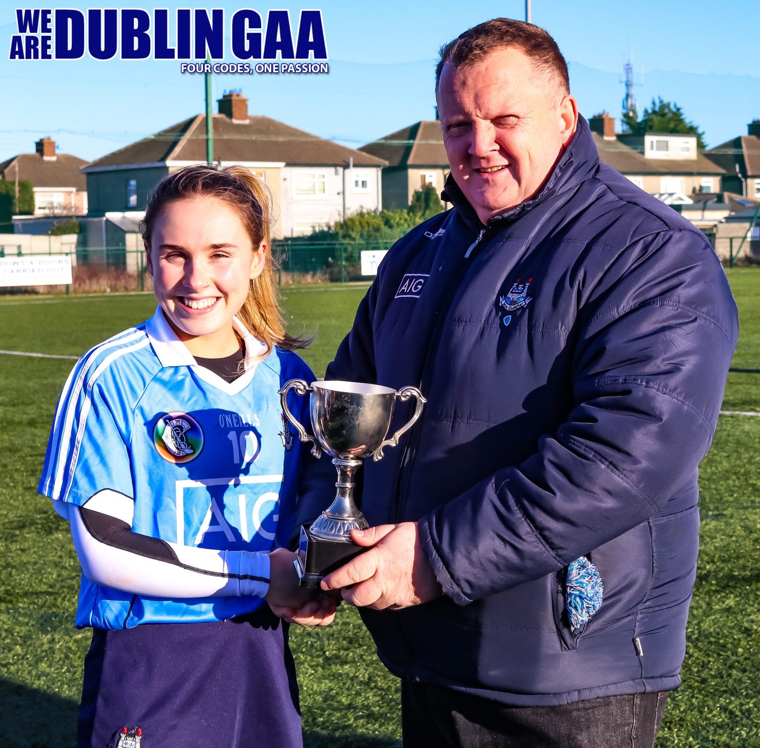 Dublin Captain Sinead Nolan Being Presented With The Dubs Stars Trophy By County Board Chairman Pat Martin