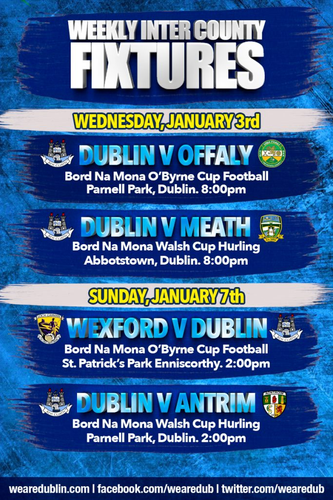 weekly fixtures January 2018
