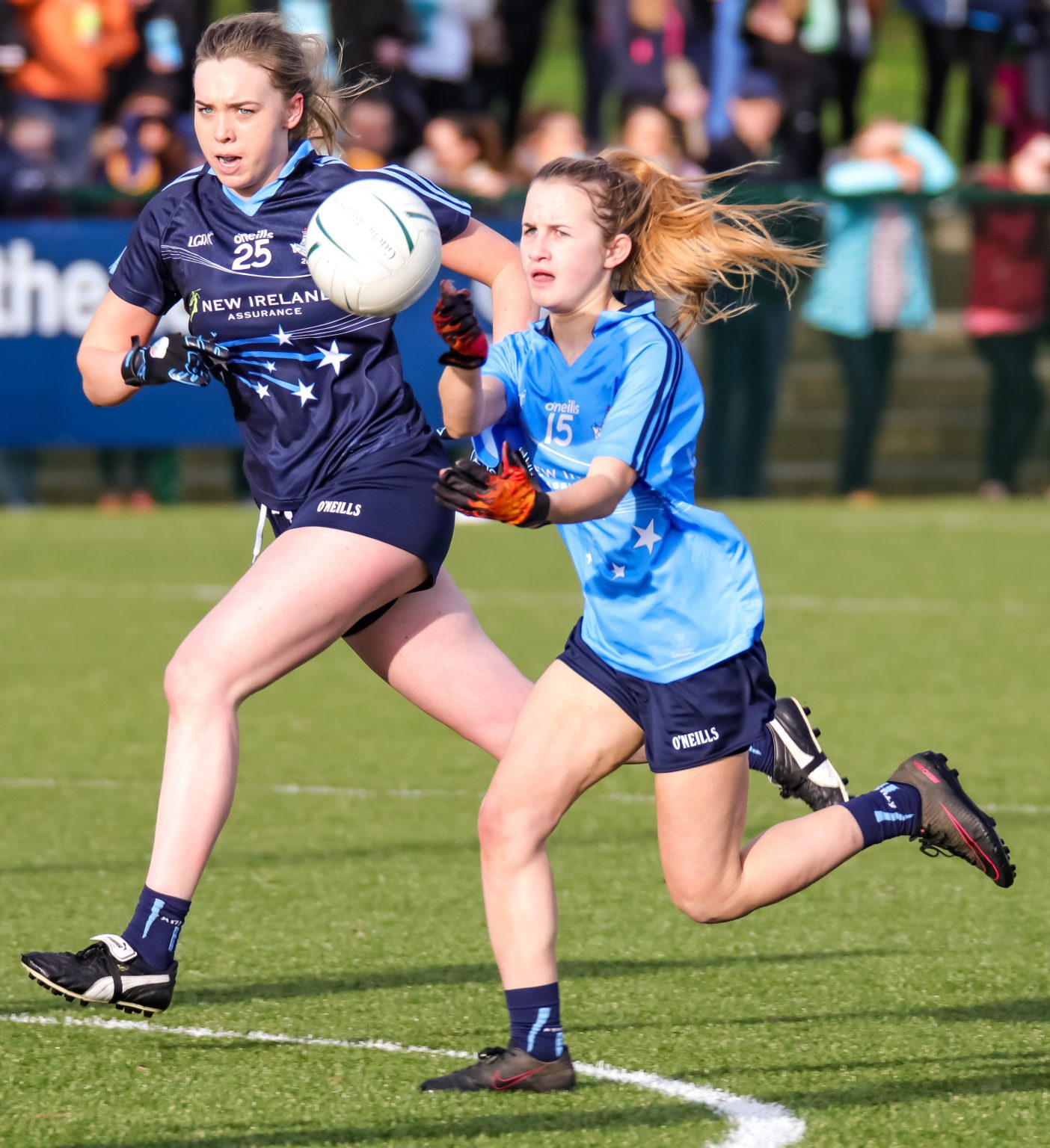 Gaby Couch Hand Passes The Ball As The Blue Team Attack's During The Junior Dub Stars Game