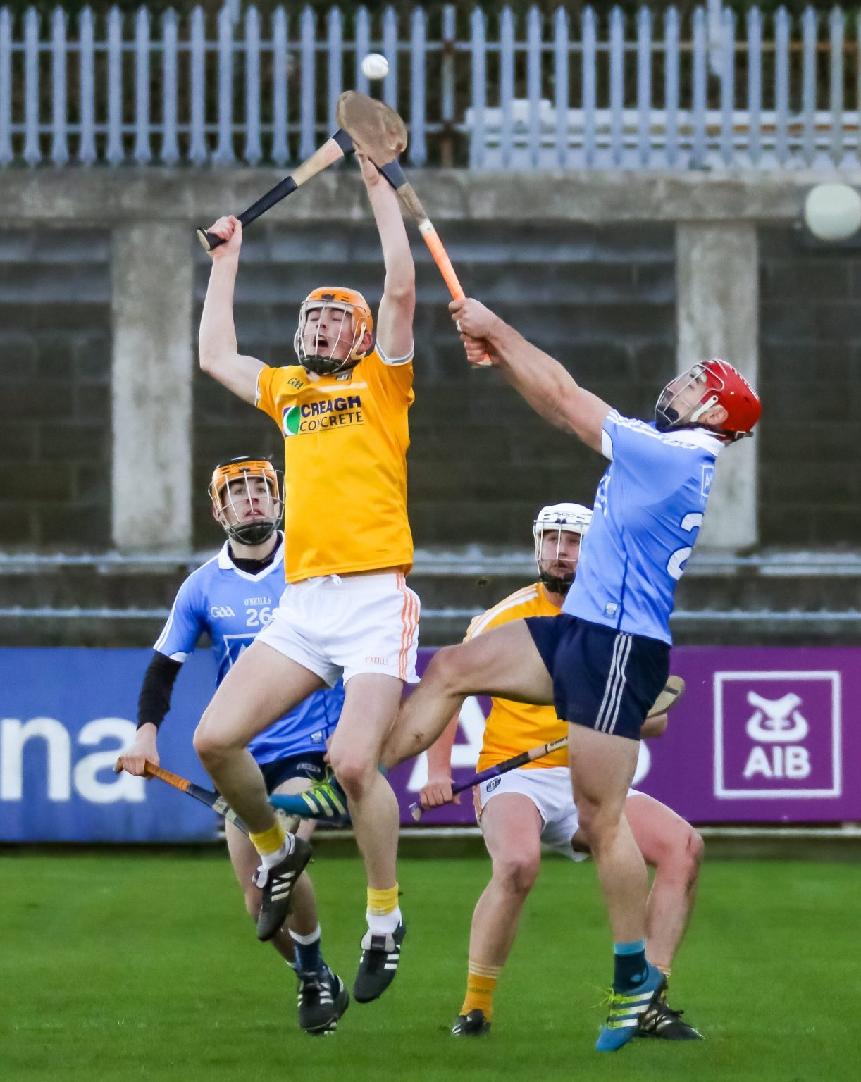 Action From Dublin v Antrim In The Walsh Cup
