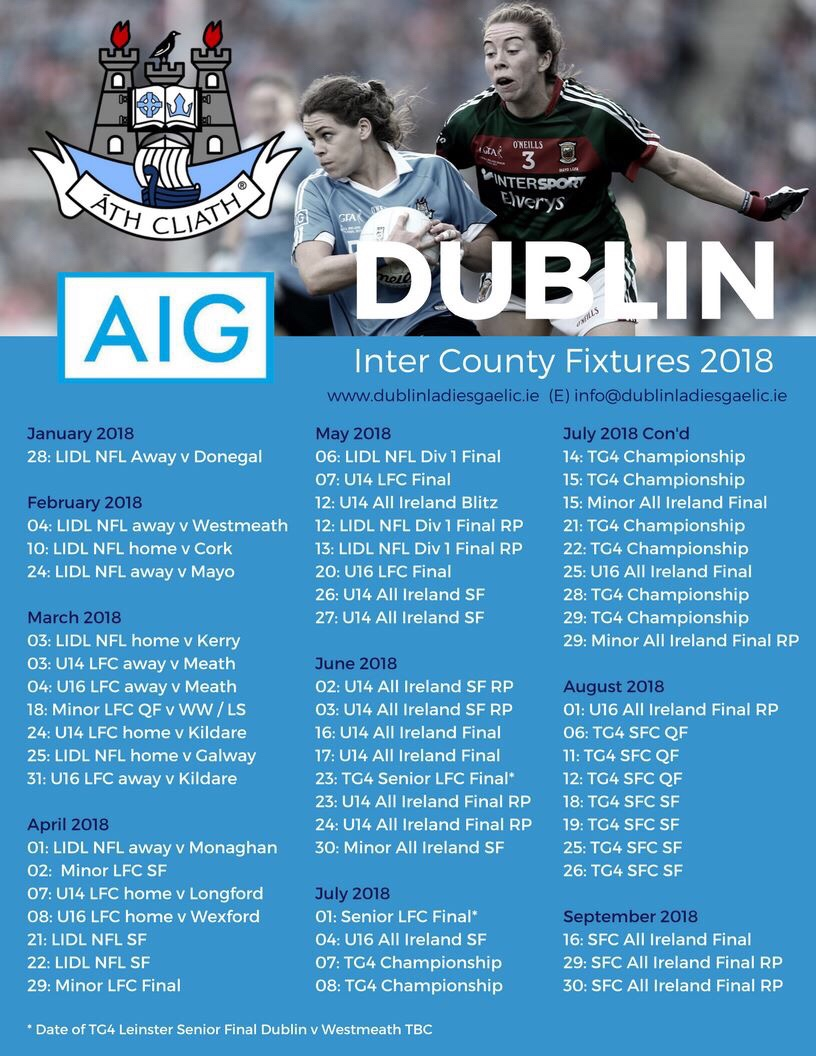 FULL LIST OF DUBLIN LADIES FOOTBALL INTER COUNTY FIXTURES FOR 2018
