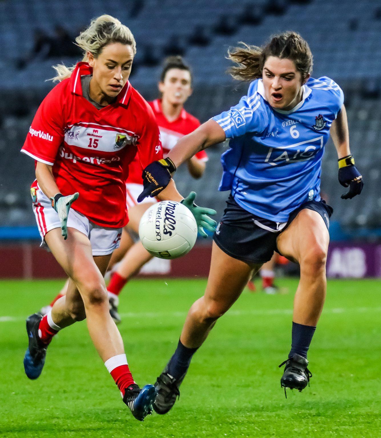 Dublin Centre Half Back Niamh Collins Tackles Cork's Orla Finn
