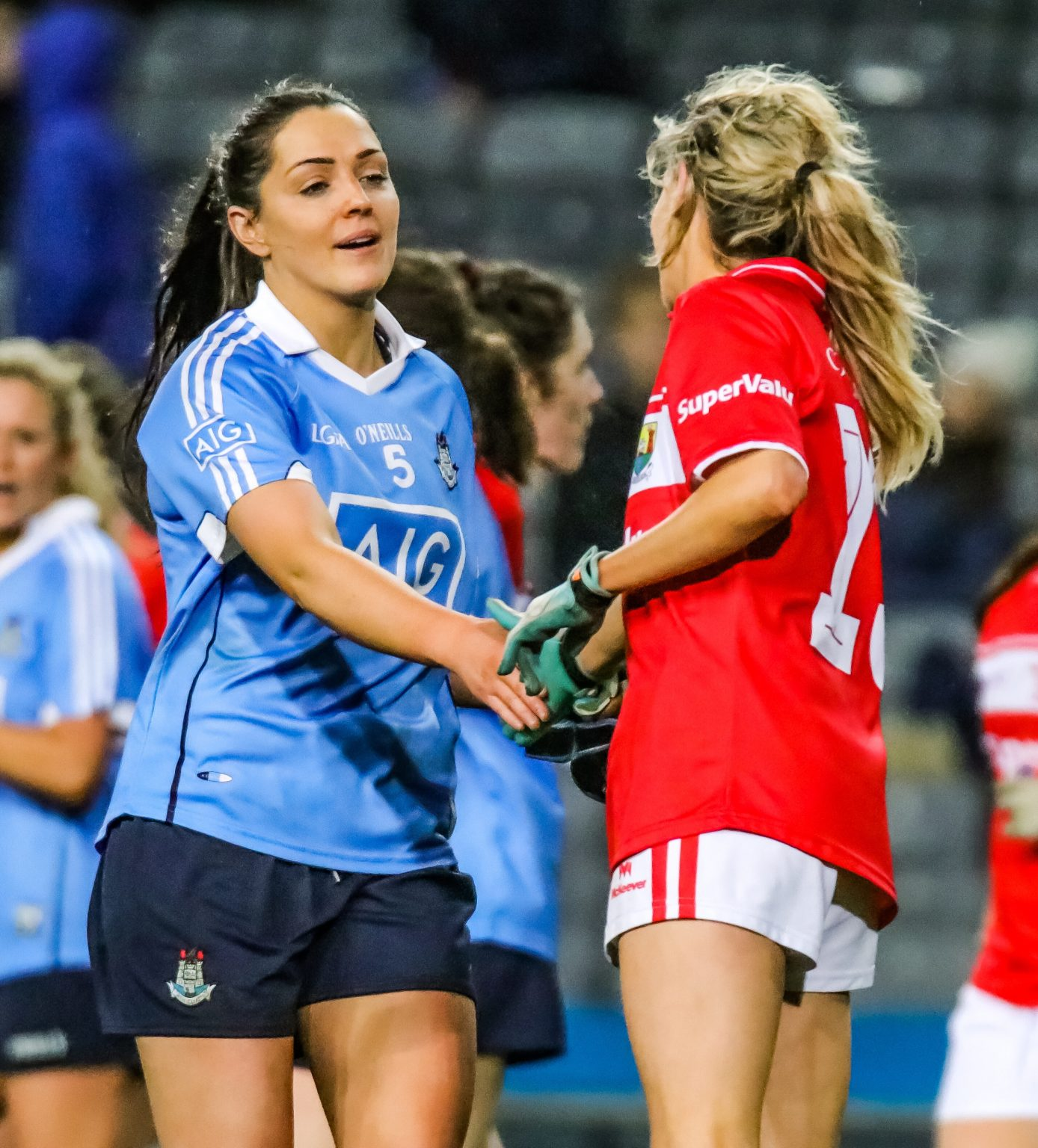 Dublin Star Sinead Goldrick Shakes Hands With Orla Finn After The Dubs Win In Croke Park