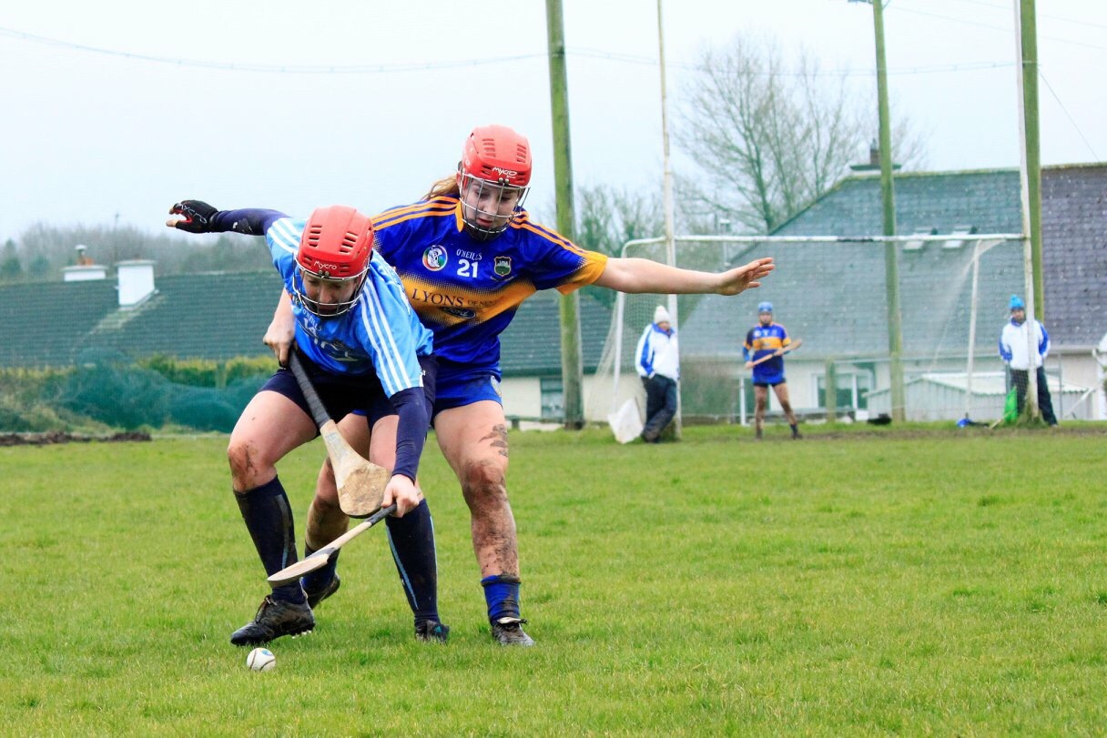 Dublin's Emer Keenan Battles For The Ball In the Littlewoods Ireland Camogie Leagues Division 2 Clash With Tipperary.