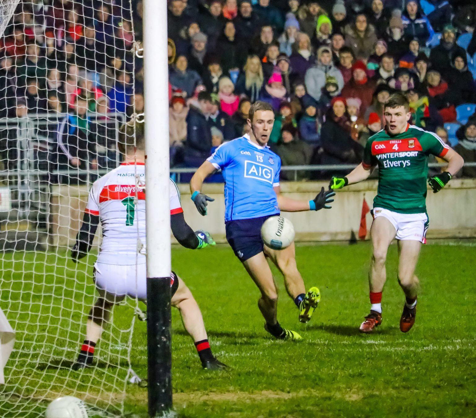 Dublin's Paul Mannion Scores The Opening Goal In Saturday Nights Mauling Of Mayo In The AllIanz NFL