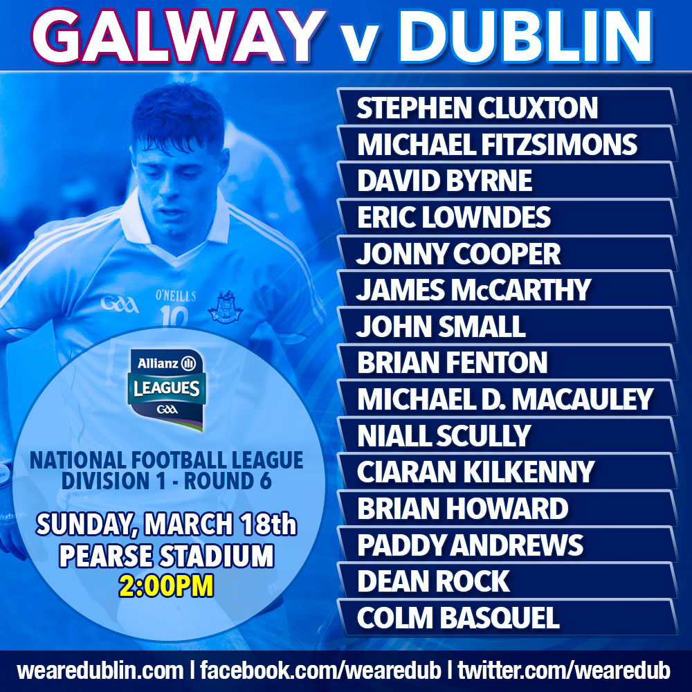 Jim gavin names Dublin Starting 15