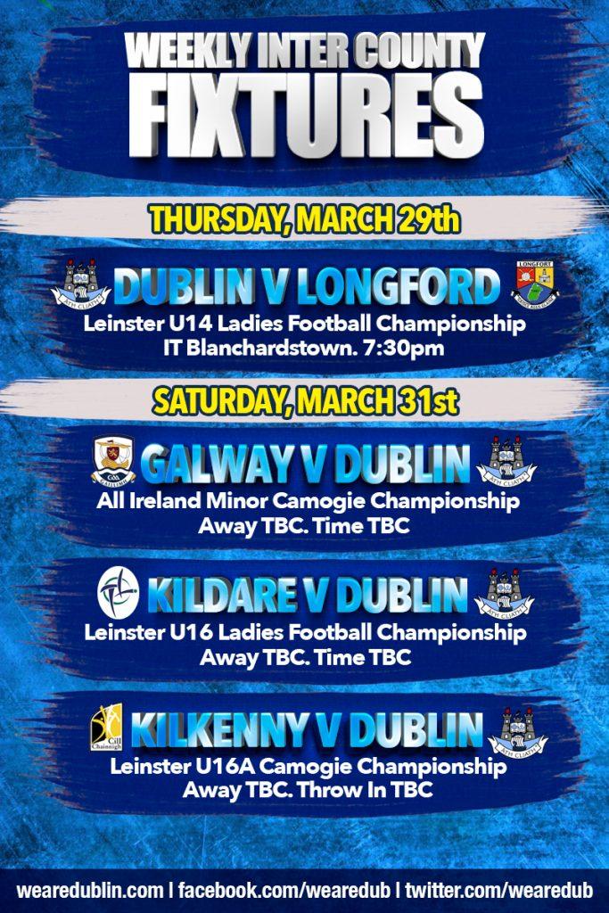 Dublin GAA Weekly Fixtures