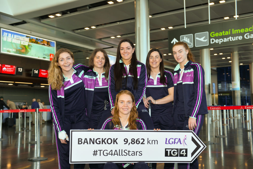 Dublin goalkeeper Ciara Trant, front, with her team-mates, from left, Sinéad Finnegan, Noelle Healy, Sinéad Goldrick, Lyndsey Davey and Lauren Magee as they get ready for the TG4 Ladies Football All-Star Tour departure to Bangkok at Dublin Airport, in Dublin. Photo by Piaras Ó Mídheach/Sportsfile