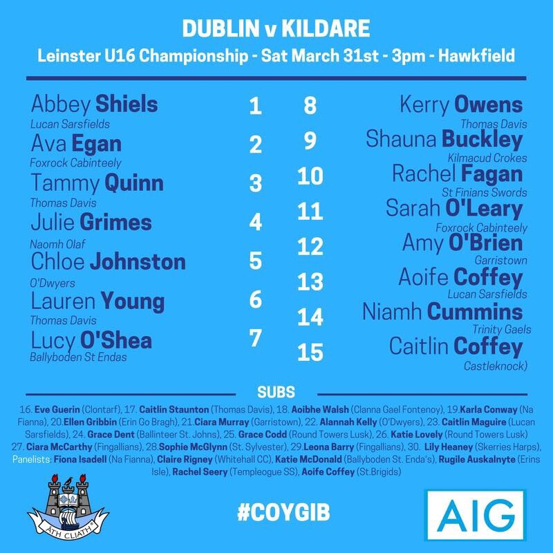 Dublin U16 Ladies Football Team Announced
