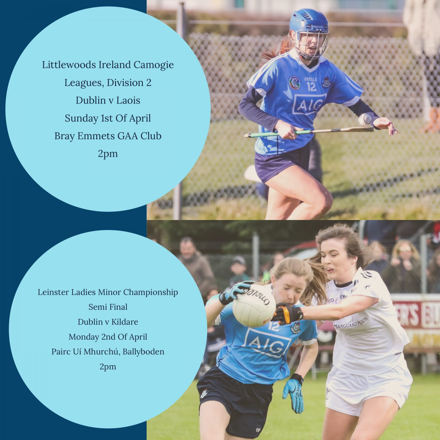 Late Venue Change For Dublin's Premier Junior Camogie and Minor Ladies Football Teams