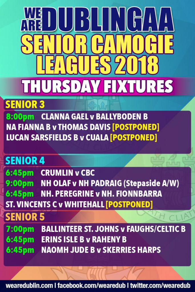 Senior Camogie Leagues 3, 4 and 5 Fixtures