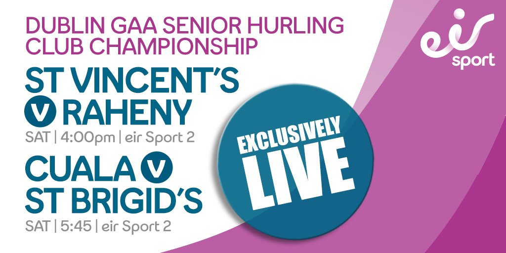 Dublin Senior Hurling Championship Double Bill Live on EirSport