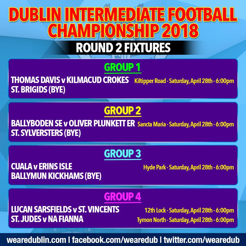 Dublin Intermediate Football Championship - Round 2 Fixtures