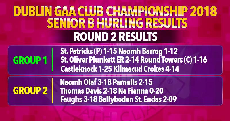 Dublin Senior B Hurling Championship - Round 2 Results