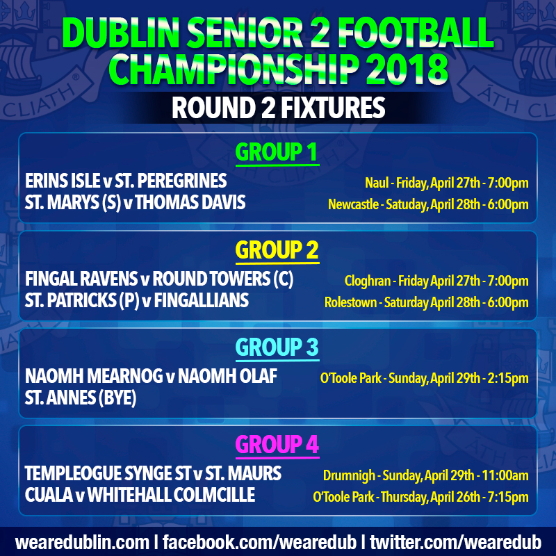 Dublin Senior Football Championship - Round 2 Fixtures