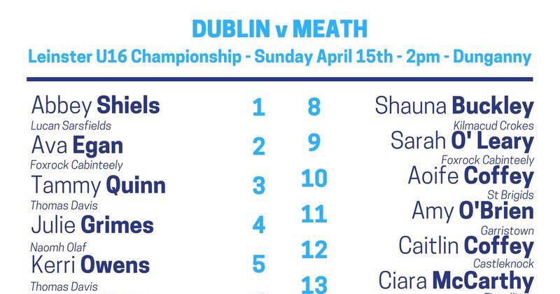 Team News: Dublin U16 Ladies Footballers Face Meath In Last Group Game Today