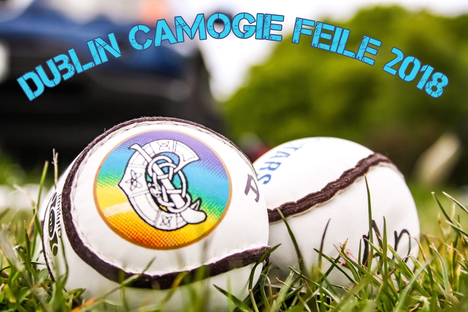 Two White Camogie Sliotars On Green Grass With the Caption Dublin Camogie Feile 2018