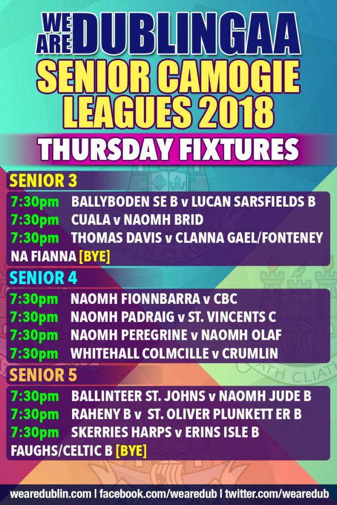 We Are Dublin Senior Camogie Leagues - Thursday Fixtures