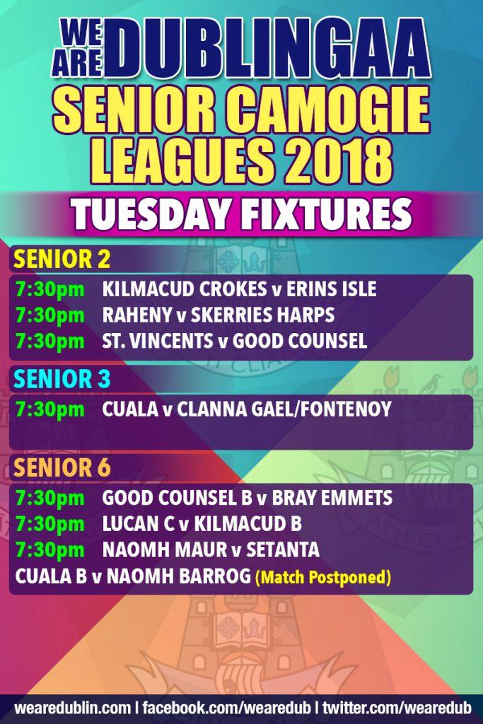 We Are Dublin GAA Senior Camogie Leagues - Tuesday Fixtures