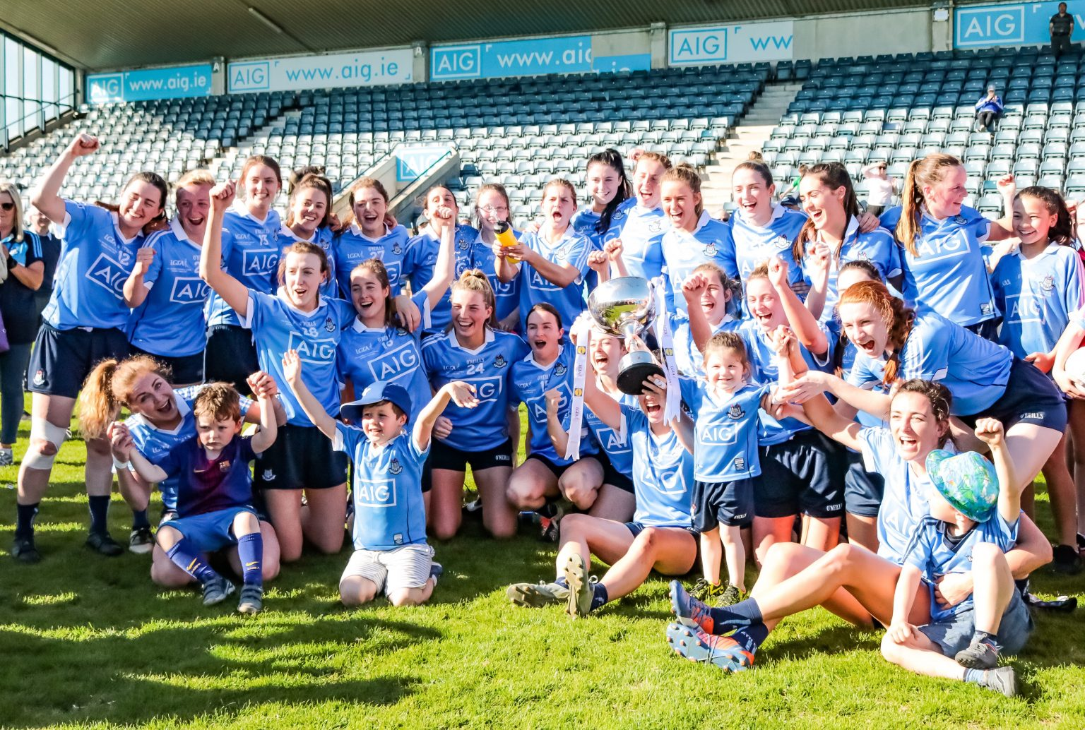 Dublin Senior Ladies Football Squad In Sky Blue Jerseys Celebrating winning their first ever Division 1 League Title