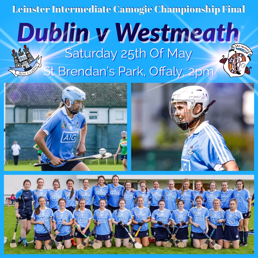 Promotional Poster for the Leinster Camogie Championship Final between Dublin and Westmeath with an image of two Dublin players in sky blue jersey and underneath the whole Dublin panel lined up on a green pitch in two rows before getting down to hard work In their last game