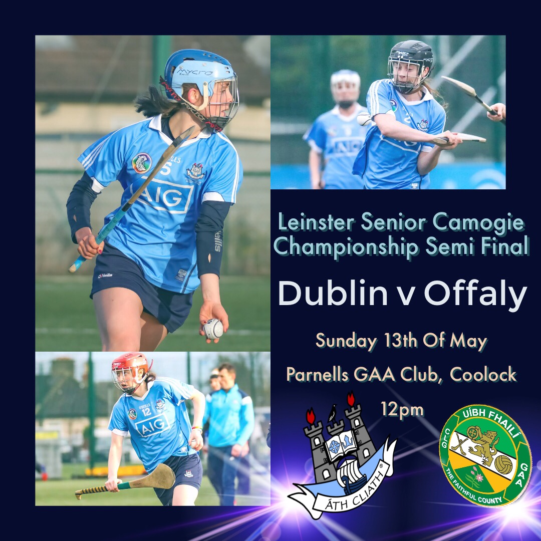 Promotional Poster With Three Dublin Camogie Players In A Sky Blue Jersey And Red, Black And Blue Helmets With the words Leinster Senior Camogie Championship With Dublin playing Offaly for a place in the Leinster Final
