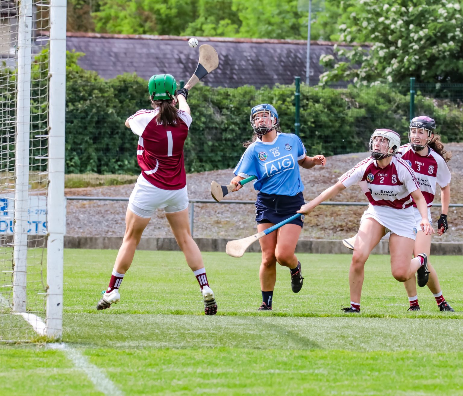 Dublin Camogie forward in a sky blue jersey flicks the ball over the Westmeath keepers head and over the bar for a point