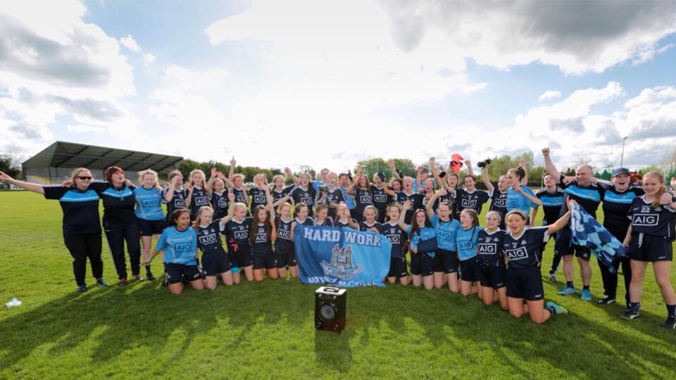 Dublin Team In Navy Jersey On The Clane GAA Pitch Celebrating Winning The U14 Leinster A Ladies Football Championship
