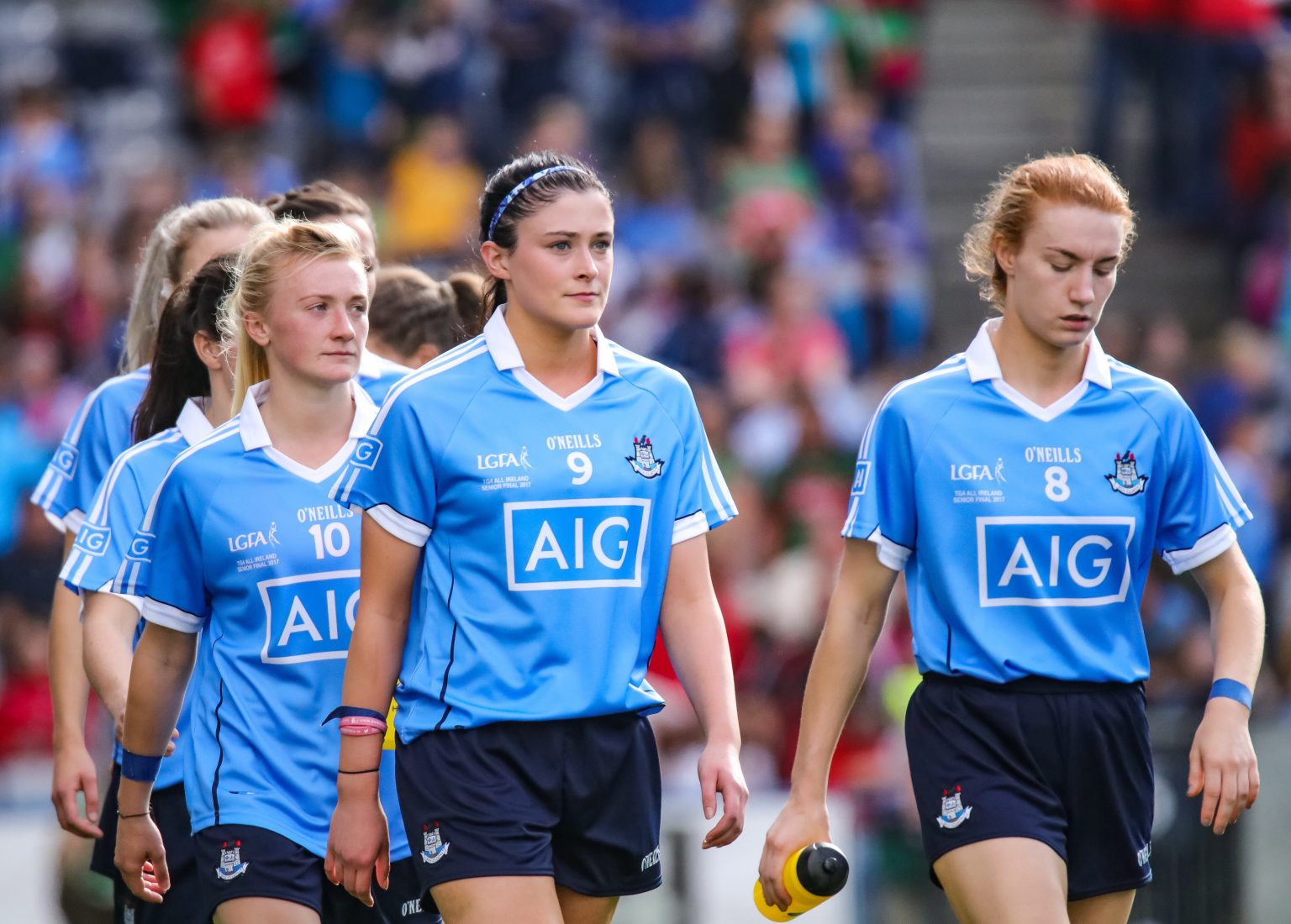 Image Of Dublin Ladies Footballers In Sky Blue Jerseys Parading Around The Pitch Ahead Of Their Game Against Mayo Who The Face In The Division 1 Final