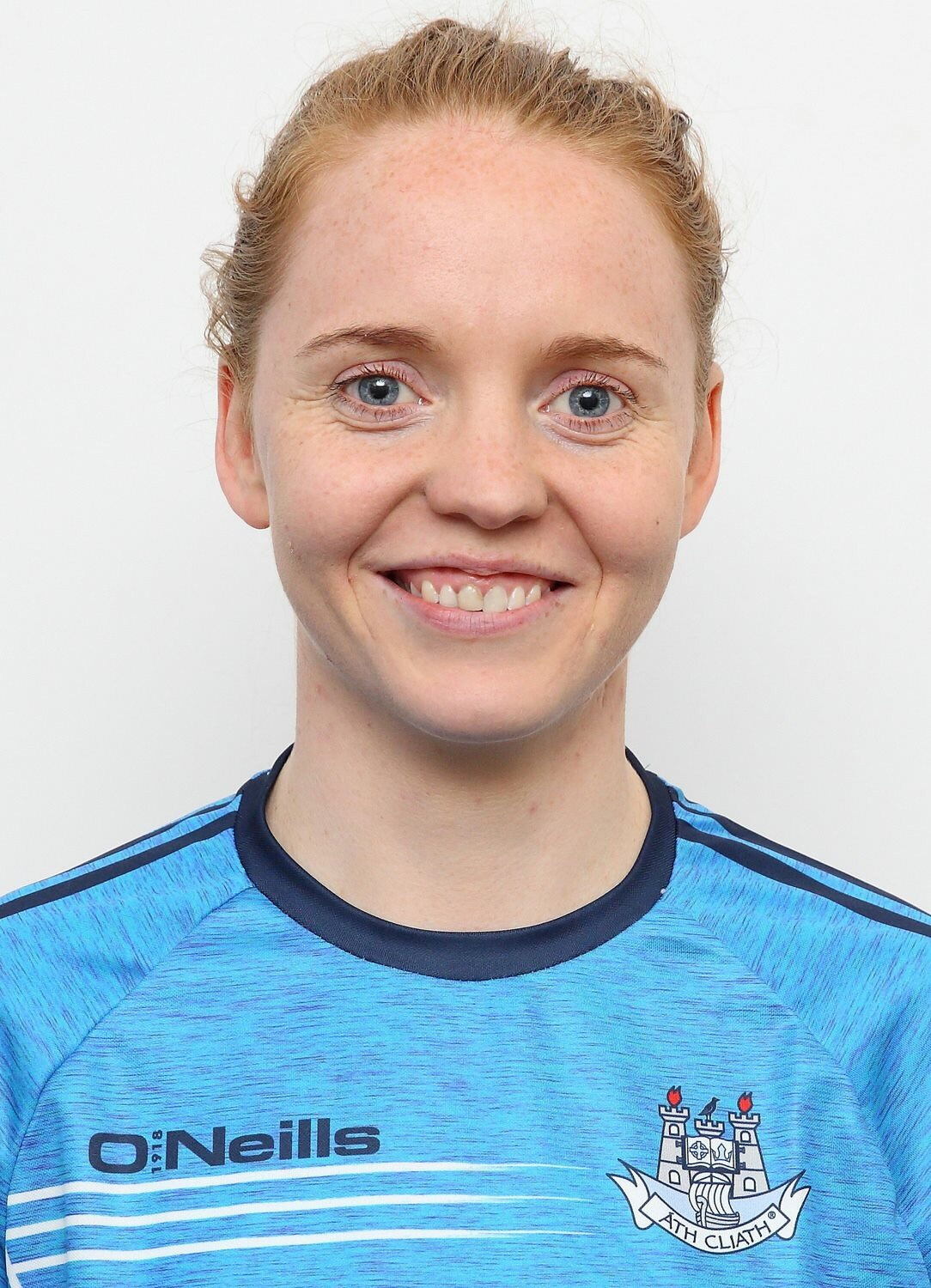 Headshot Of Dublin Goalkeeper Ciara Trant In a Blue training top with the Dublin Crest for the announcement she was named on the Lidl team of the league