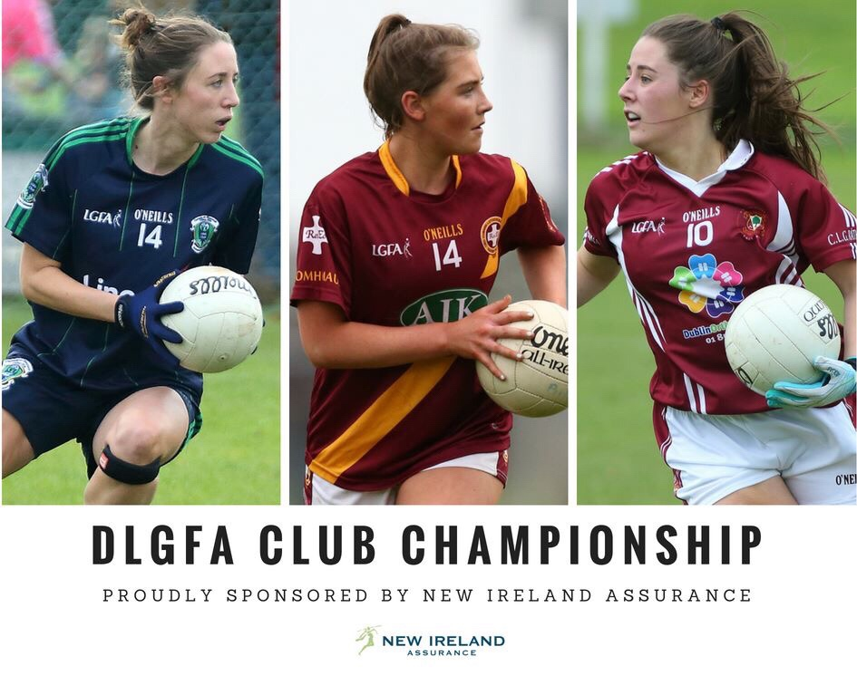 Poster featuring three ladies football players one in a navy jersey with green stripes one in a maroon jersey with a yellow stripe one in maroon jersey with white stripes down the side to advertise the New Ireland Assurance Club Championships