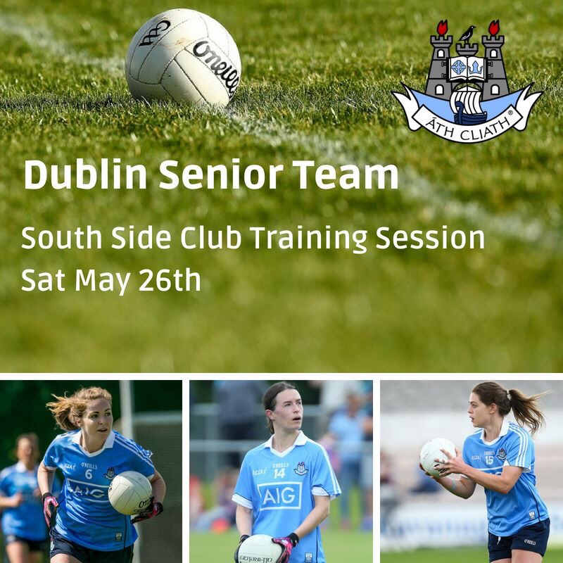 White ball on a green pitch and below three Dublin players in sky blue jersey to advertise their coaching session