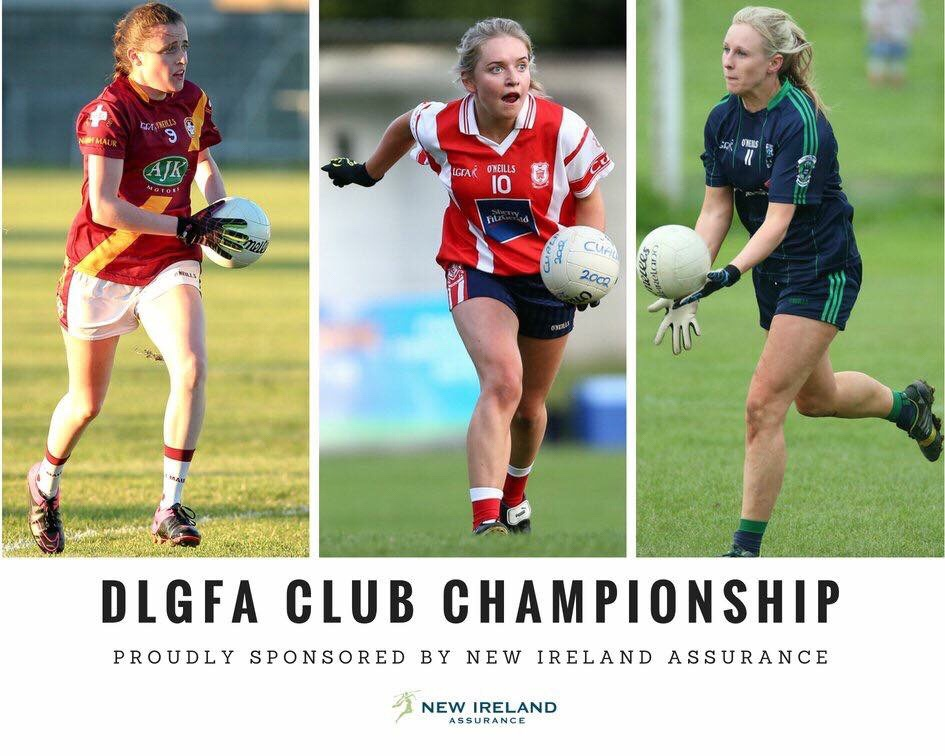 Promotional Poster for the Dublin LGFA Club Championships Second Round games featuring three ladies footballers in a maroon jersey with a yellow stripe down the front, one in red jersey with white sleeves and one in a dark navy jersey with three green stripes on the shoulder and sleeves