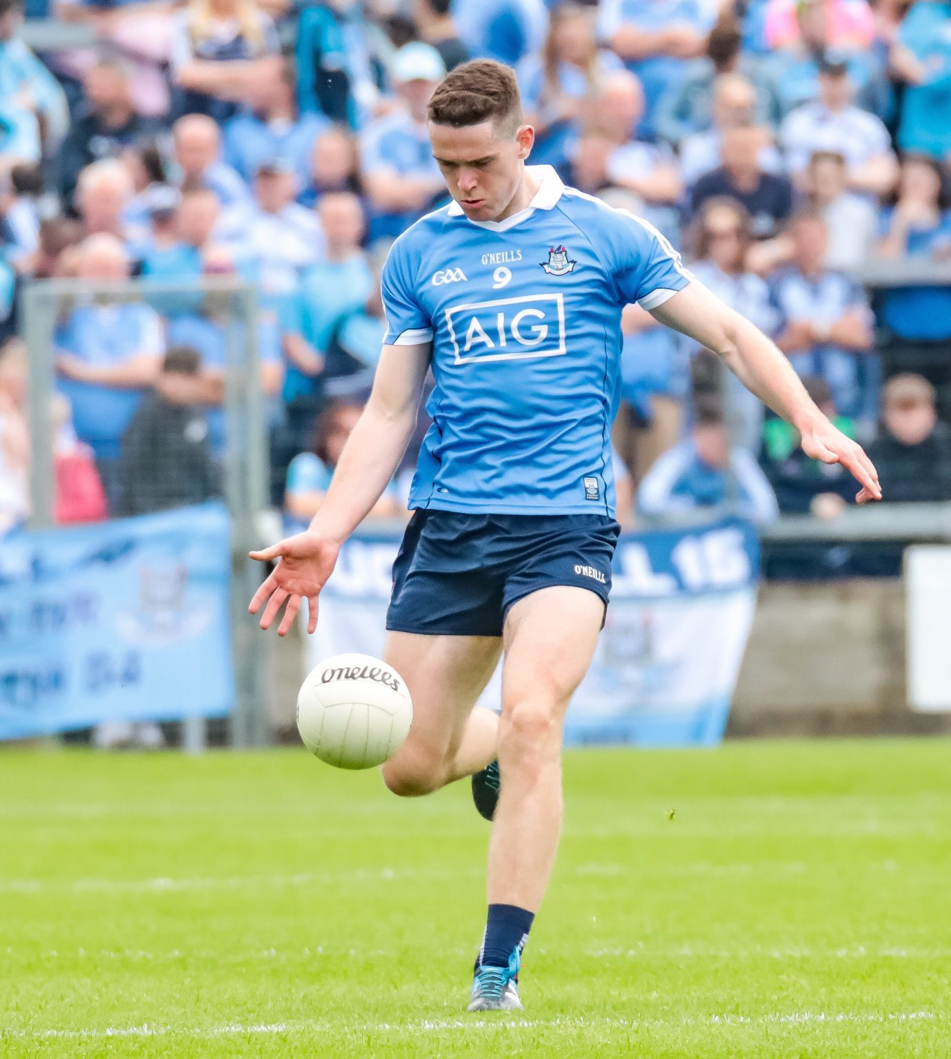 Dublin footballer Brian Fenton In A Sky Blue Jersey Kicking A White Ball Put In man of the match performance as Dublin demolish Longford