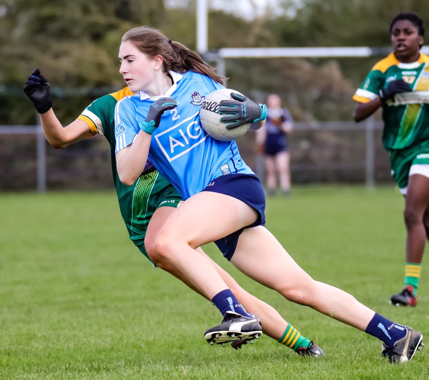 Dublin Ladies Minor Football in sky blue jersey with navy shorts in action against Meath the Dublin Ladies Minors face Cork in the All Ireland Semi Final