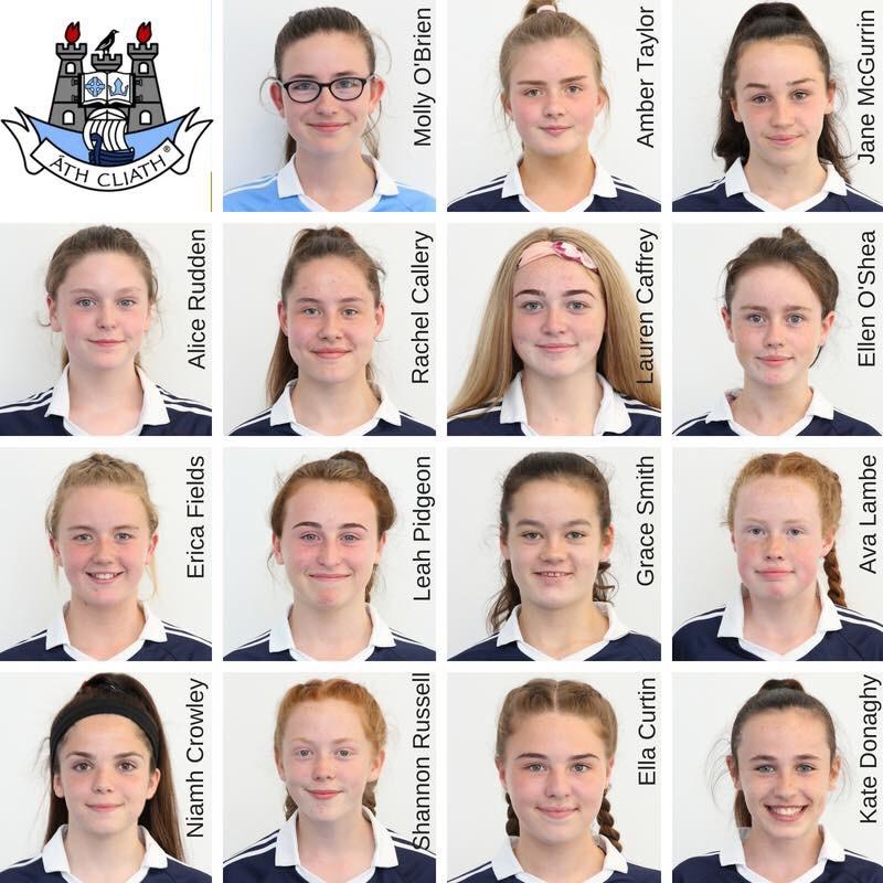 Head shots of the Dublin U14 Ladies Football team in navy jersey's ahead of their All Ireland U14 Final against Cavan
