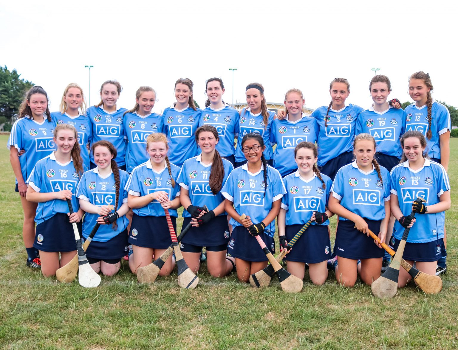 Squad photo of the Dublin Minor B Camogie squad in sky blue jerseys and navy skorts before their bid for a Leinster Final place against Kilkenny