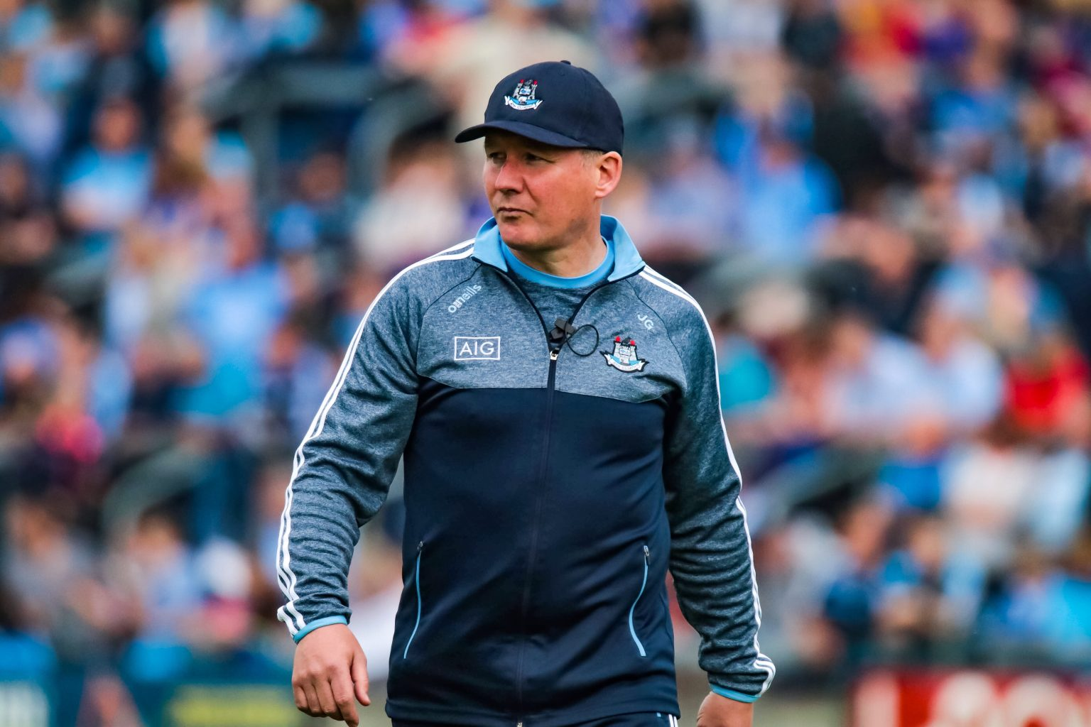 Dublin manager Jim Gavin in a navy and grey training top and navy cap is a tactical genius at getting his player match ups spot on
