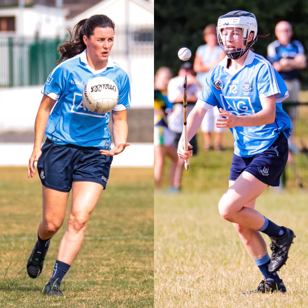 A Dublin Ladies footballer on the left wearing a sky blue jersey and white ball and a Dublin Camogie player on the right in a sky blue jersey, hurl in right hand balancing a ball, both players respective semi finals may clash due to TV coverage deals